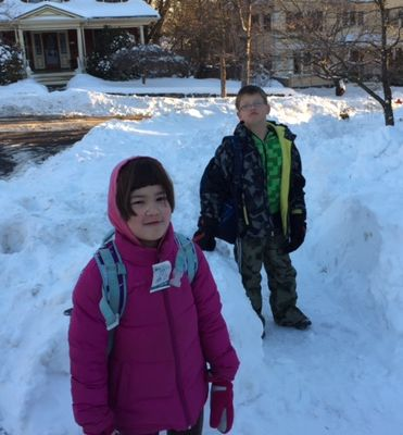 Leo and Frances in snow-covered Arlington