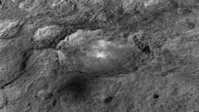 Occator Crater with bright spots. Vertical relief exaggerated 5X